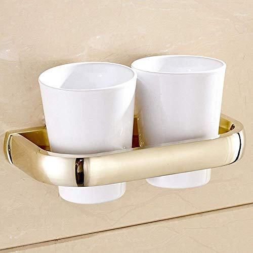 YSJ Moderne minimalistische kunst badkamer dubbele kop tandenborstelhouder, metalen hanger die aan de muur bevestigd is
