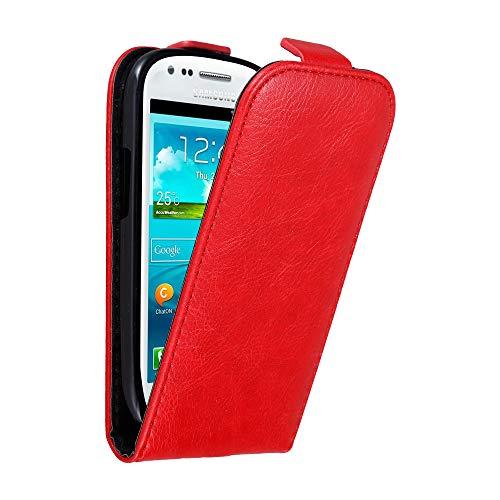 Cadorabo Funda para Samsung Galaxy S3 Mini in Rojo Manzana - Cubierta Proteccíon Estilo Flip con Cierre Magnético - Etui Case Cover Carcasa