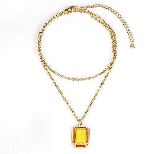 Collar Los Accesorios De La Marca Gemstone Pendant Tide para Hombres Y Mujeres con Personalidad Hip Hop Pueden Sonar Silbato De Acero De Titanio con Gemas, Oro