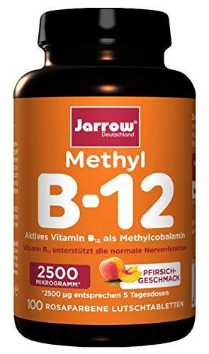 Methyl B12 2500 µg, 500 µg pro Tagesdosis, aktives Vitamin B12 als Methylcobalamin, stärker rosafarbene Lutschtabletten mit Pfirsichgeschmack, vegan, hochdosiert, Jarrow Deutschland