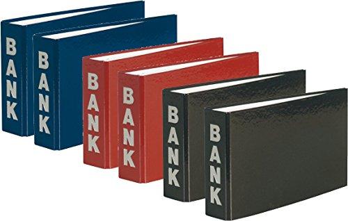 6 Bankordner 140x250mm Ordner für Kontoauszüge | je 2X blau, rot und schwarz