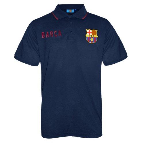 FC Barcelona Herren Polo-Shirt mit bunt gewebtem Vereinslogo - Marineblau - M