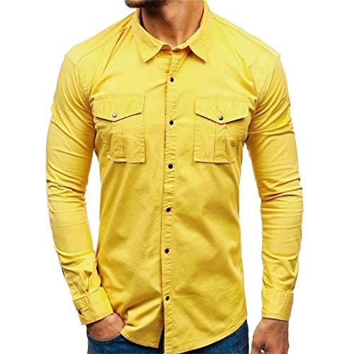 Xmiral Herren Shirt Hemd mit Brusttasche Lange Ärmel Stehkragen Einfarbig Hemden...