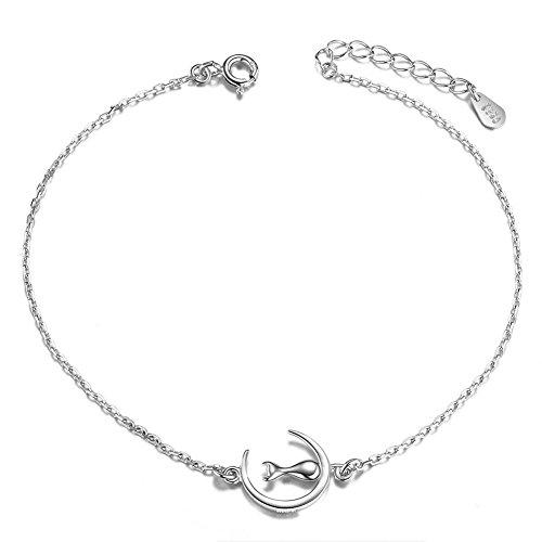 SWEETIEE - Bracelet de Cheville Femme en Pur Argent 925 Sterling, Chaine Orne de Chat Sur La Lune...