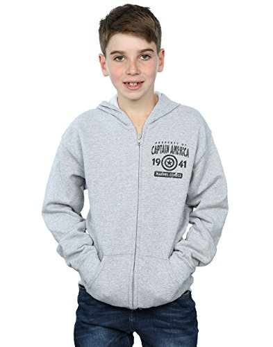 Marvel Jungen Captain America Property Zip Up Hoodie 9-11 Years Sport Grey