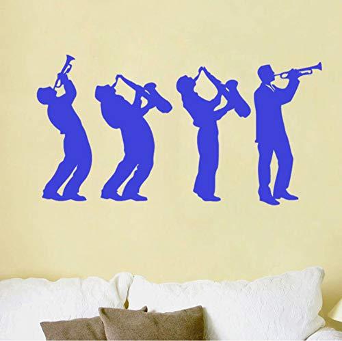 Pbbzl Muurtattoos, muziekgroep, kunst design, kinderen aanraken, saxofoon tattoos, wanddecoratie voor thuis, woonkamer, kinderen, slaapkamer, decoratie 29 x 54 cm