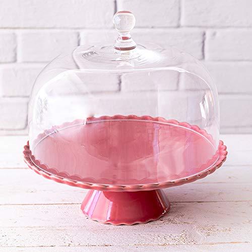 Villeroy & Boch Sweet Flower - Plato para tartas con tapa de cristal (28 cm), color rojo