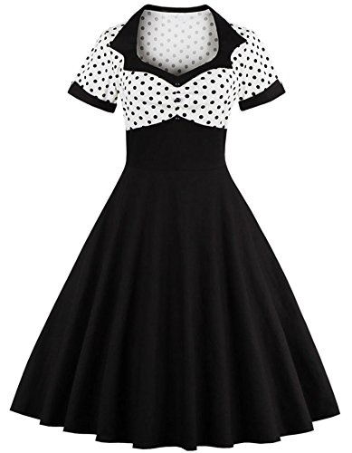 50er Jahre Kleider Damen, Rockabilly Kleider Damen Baumwolle Luftiges Cocktail Party Schön Fällt Figur Schmeichelt Vintage(Schwarz/weiße Punkte 4XL)
