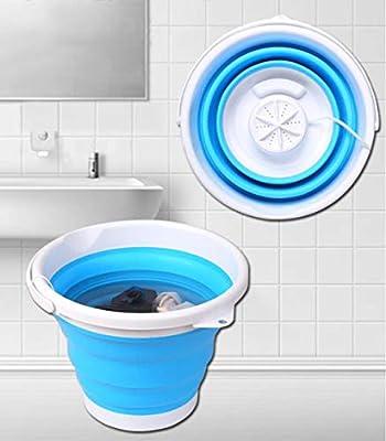Portable Washing Machine, USB Powered Folding Ultrasonic Turbo Mini Washing Machine, Suitable for Travel, Apartment Dormitory, RV (Blue)