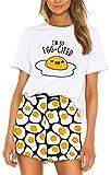 Silver Basic Camiseta de la NASA para Niñas Conjunto de Pijama de Verano Lindo Camisa y Pantalones Cortos Ropa de Dormir Estampados de Flamencos de Sandía Camiseta Pijama XL,08Huevo Frito-1