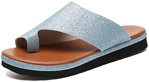 Dames Sandalen Zomer Nieuwe Strand Sneakers Platform Slippers Grote teen Bones Correctie Sandalen Comfortabele Strand Sneakers Mode Sandalen-Zilver_37 m Evolutions