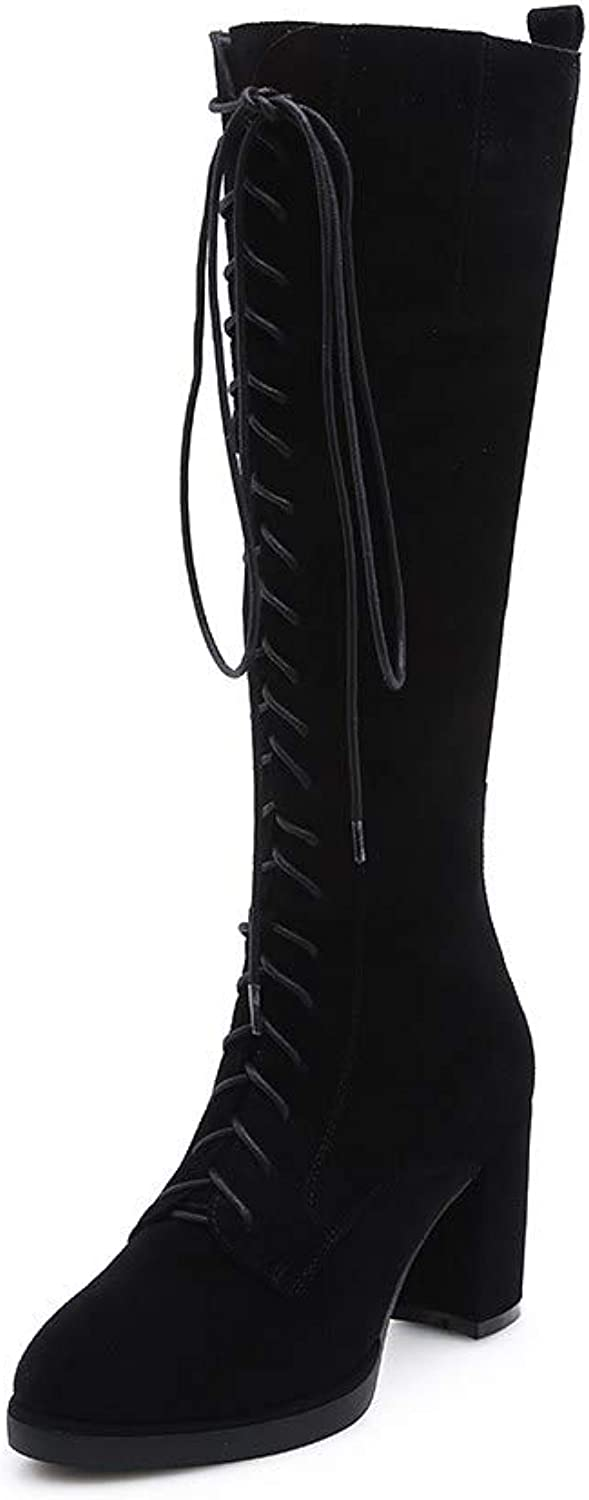 Nine Seven Women's Suede Leather Round Toe High Chunky Heel Handmade Casual Side Zipper Lace Up Knee High Boots