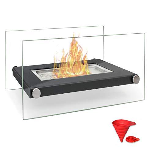 BRIAN & DANY Tragbare Feuerschale für den Tisch, belüftet, Bio-Ethanol-Kamin für drinnen und draußen