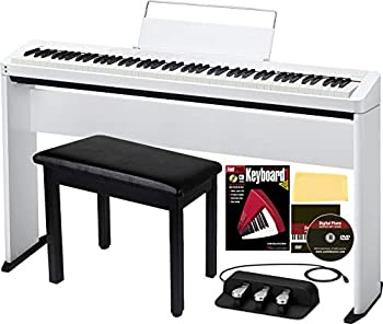 Casio Privia PX-S1000 88-Key Digital Piano - White Bundle with CS-68 Stand SP-34 Three Pedal System Furniture-style Bench Instructional Book and DVD and Polishing Cloth