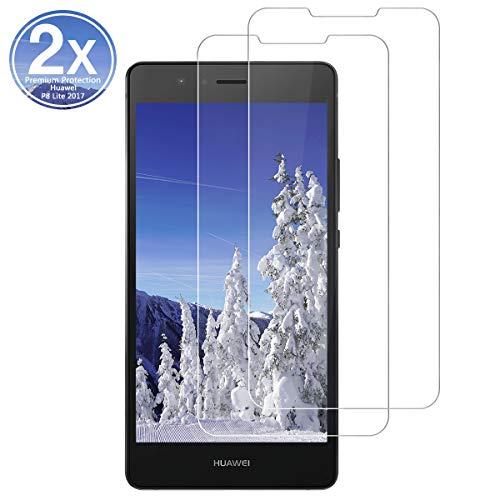 Preisvergleich Produktbild OYYXNN [2 Stück Panzerglas für Huawei P8 Lite 2017,  Schutzfolie [9H Härte] 2.5D [HD Clear] [Blasenfrei] [Anti-Kratzen] Displayschutzfolie Folie