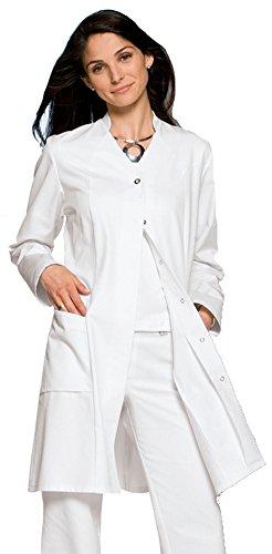 clinicfashion 10310029-1 Damen Mantel weiß, V-Ausschnitt mit kleinem Stehkragen, Baumwolle, Größe 38