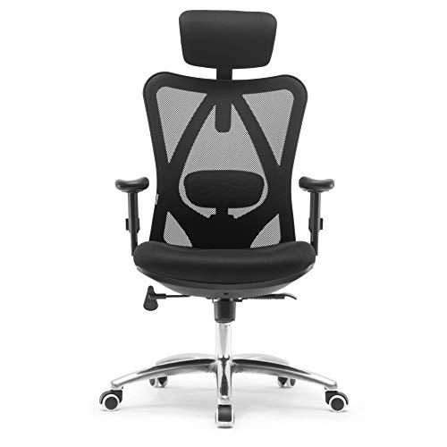 Sihoo Ergonomischer Schreibtischstuhl, Drehstuhl hat Verstellbarer Lordosenstütze, Kopfstütze und Armlehne, Höhenverstellung und Wippfunktion, Rückenschonend, Bürostuhl bis 150kg/330LB Belastbar