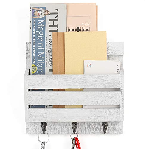 LIANTRAL Mail Sorter Wall Mount Mail & Key Holder Organizer with 3 Key Hooks (Rustic White)