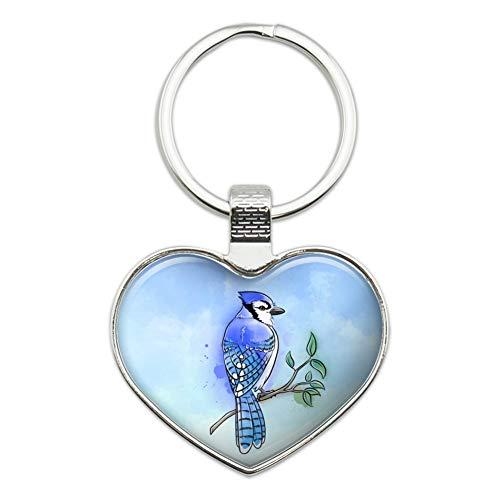 Blue Jay Watercolor Northeastern Bird Keychain Heart Love Metal Key Chain Ring