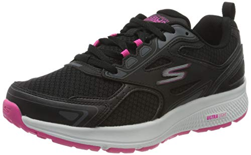 Skechers Go Run Consistent, Zapatillas Mujer, Negro (Black Leather/Synthetic/Pink Trim/Textile Bkpk), 37 EU