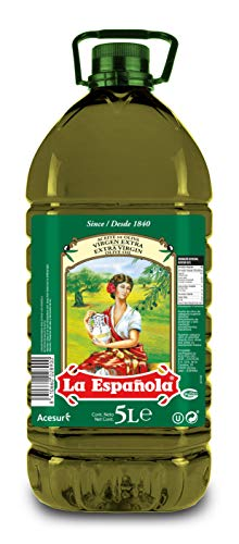 LA ESPAÑOLA - Aceite de Oliva Virgen Extra, Prensado en Frío de Olivares de España, en Formato de Garrafa de 5 Litros, Ideal como Aderezo en Crudo o para Elaborar Platos con un Toque Mediterráneo.