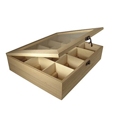Rayher - Caja de Madera para bolsitas de te, 12 Compartimentos, 28,5 x 23,5 x 7 cm
