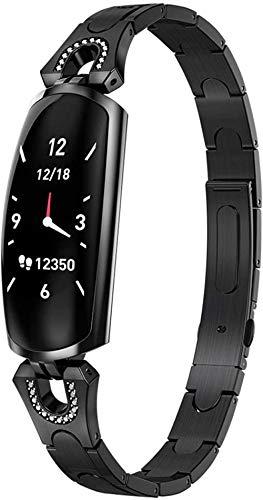 Podómetro Reloj de Sueño Frecuencia Cardíaca Monitor de Preesura de Sangre Reloj de Mano Bluetooth Actividad de Moda Reloj Inteligente Fitness Trackers Reloj de Pulsera - Negro