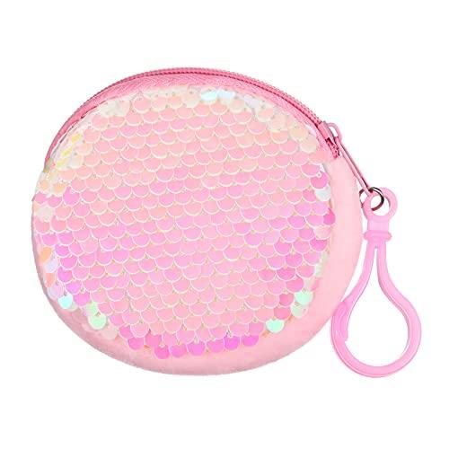 Mini Borsa con Glitter Mini Portamonete con Paillettes Rosa Mini Portamonete per Bambini, Portafogli Rotondo con Paillettes per la Festa di Compleanno Natale Regalo di San Valentine