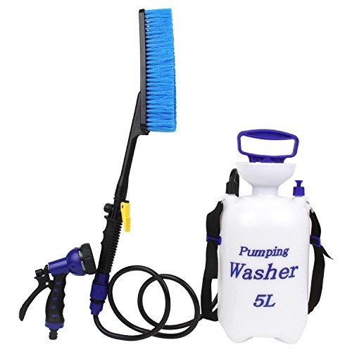 セフティー3 電源不要 ポンピングウォッシャー 蓄圧式 お掃除ポンプ 5L SPW-1 ホースが届かない場所の水洗いに ブラシ 散水ノズル