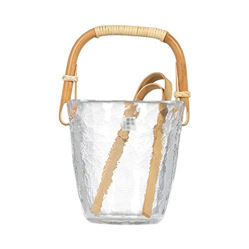 LYCIL Glas Klein EIS Eimer,Japanisch-Stil Vintage Eiskübel Mit Ice Tongs Retro Kristall Eiskühler Isolierung Carry Handle Eisbehälter A