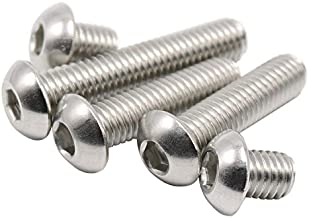 #2-56 Button Head Socket Cap Screws,Stainless Steel,Full Thread,Right Hand,100 Piece (#2-56 x 3/16