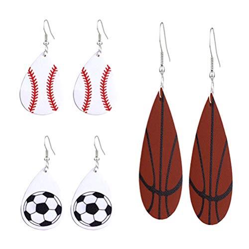 TOYANDONA 3 Paar Ball Leder Ohrringe Baseball Basketball Fußball Ohrringe für Frau Dame weiblich