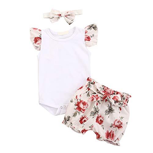 Tianhaik Infantile Bébé Fille Vintage Tenues Floral à Manches Volantées Barboteuse Short Bandeau Vêtements D'été