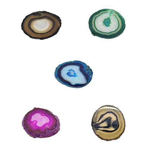 Hellery Posavasos De ágata Moderna Conjunto De 5 Rebanadas De Cristal De Piedra De Geoda A Granel Soporte De Bebida Cualquier Taza De Vidrio DEC