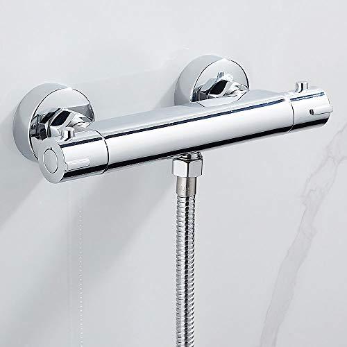 Dusche Mischbatterie Thermostat Duscharmatur Chrom Rutschfest mit Temperaturanzeige und Verbrühschutz bei 38 °C