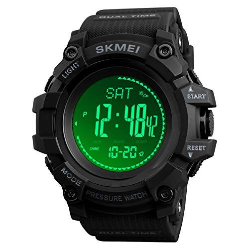 AOSLSI Watch Compass, Altimeter Barometer Thermometer Temperature, Pedometer Watch, Watch Compass, Altimeter Barometer Thermometer Temperature, Pedometer WArmy Waterproof Outdoors Sport Digital Watch for Men, Black