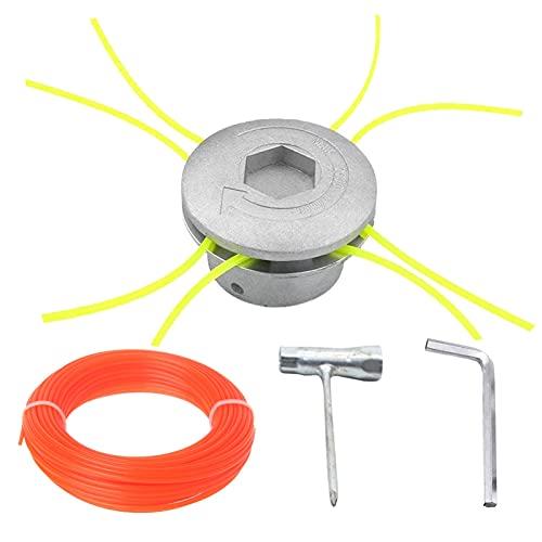 CDIYTOOL Recortadora de bobina de aluminio, cabezales de césped universales para desbrozadora de repuesto de nailon para cabezal de corte de cepillo de gasolina, cortador de césped