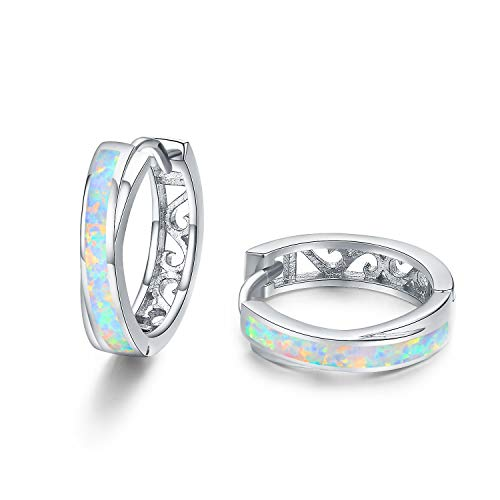 Ohrringe Damen Sterling Silber 925 Creolen-Opal Ohrringe Mädchen Kinderohrringe Creolen Klein Kreolen-Damenohrringe Muttertag Geschenk für Frauen,Kinder