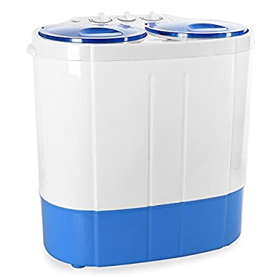 OneConcept DB003 Mini Camping Washing Machine - Compact Clothes Washer, For Outdoor Caravans Small Apartments and Travel, 2 kg Load Capacity, 250W/150W Rinse and Spin Power, White/Blue