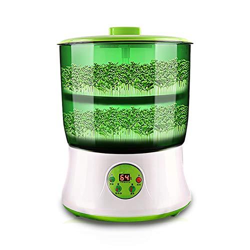 JanTeel Automatisch Keimgerät Keimbox, Mehrzweck 2 Schichten Automatisch Bewässern Große Bohnensprossen Maschine Hydroponics Mit LED-Anzeige (Grün)