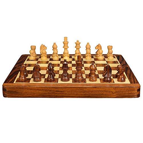 OKMIJN Juego de ajedrez plegable con tablero de ajedrez de boj y piezas de ajedrez de palisandro para niños (fiesta de entretenimiento de puzzle)