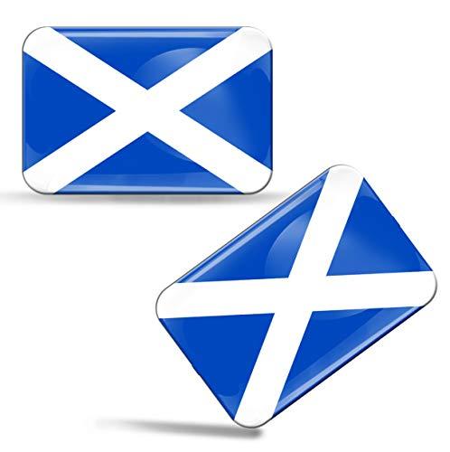 Biomar Labs 2 x Aufkleber 3D Gel Silikon Stickers Schottland Scotland Schottische Flagge Fahne Flag Auto Motorrad Fahrrad Fenster Tür PC Handy Tablet Laptop F 56