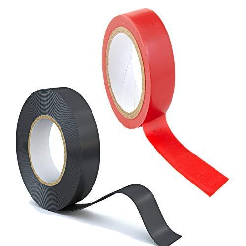 12 Rollen Isolierband Isoband Elektriker Klebeband PVC 19 mm 10 Rollen schwarz und 2 Rollen rot extra stark top Qualität