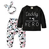 Derouetkia Newborn Baby Girls 3Pcs Outfit Set Letters Daddy Little...