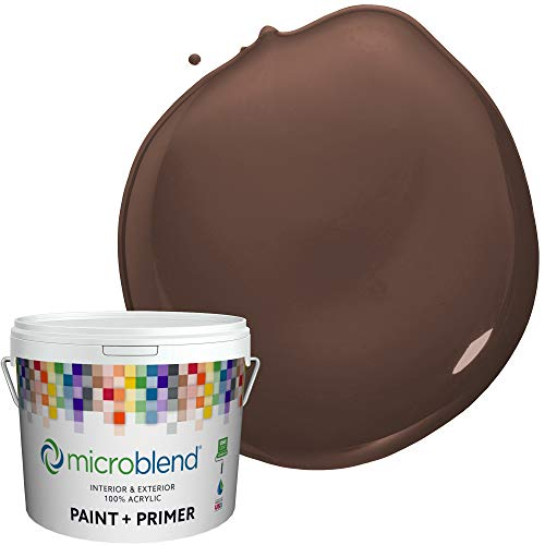Microblend Exterior Paint and Primer - Brown/Saddlebag Brown, Flat Sheen, Quart, Premium Quality, One Coat Hide, Low VOC, Washable, Microblend Oranges Family