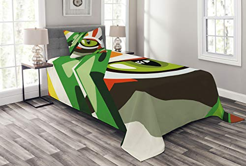ABAKUHAUS Auge Tagesdecke Set, Wild Tiger Feline Cat Vivid, Set mit Kissenbezug luftdurchlässig, für Einselbetten 170 x 220 cm, Multicolor