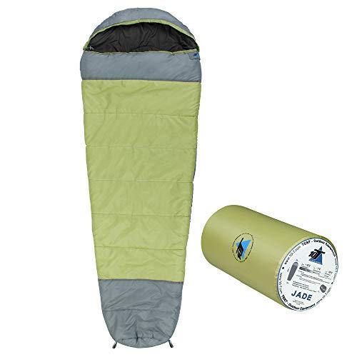 10T slaapzak Jade -16° warm zacht 1800g licht XXL mummieslaapzak 230x85 groen/grijs 300g/m2