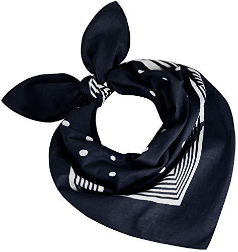 Tobeni 000803 Mujer Hombre Nicki Pañuelo Bufanda Cabeza Puntos Bufandas Algodón Unisexo Color Azul oscuro Tamaño 55 cm x 55 cm