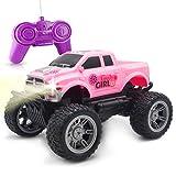 ForeverMagicToys Voiture télécommandée - Camion Jeep Rose RC pour Filles de 5 Ans et Plus - Parfait pour Les Cadeaux de Noël, Cadeaux d'anniversaire