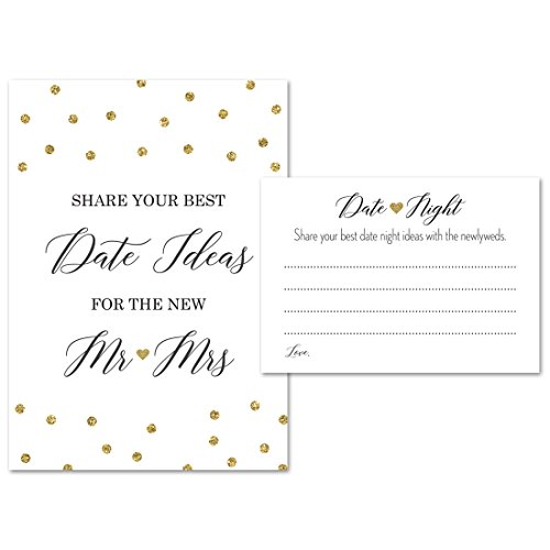 Date Night Advice (1 sign+45 cards) - Faux Gold Glitter – for Bridal Shower and Wedding Recption, Bridal Shower Games, Date Jar Sign, Reception Signs